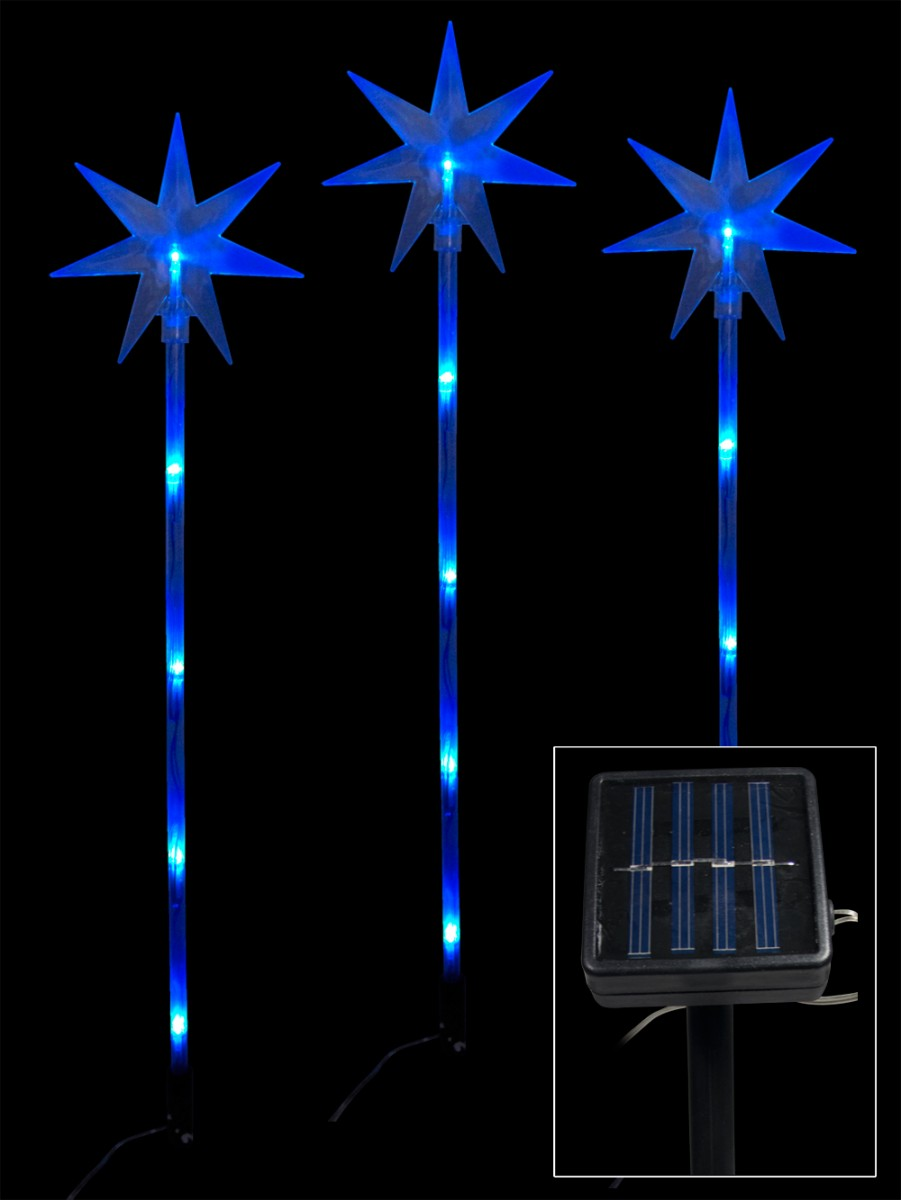 6 Blue Led Solar North Stars On Stakes - 66cm | Christmas Lights ...
