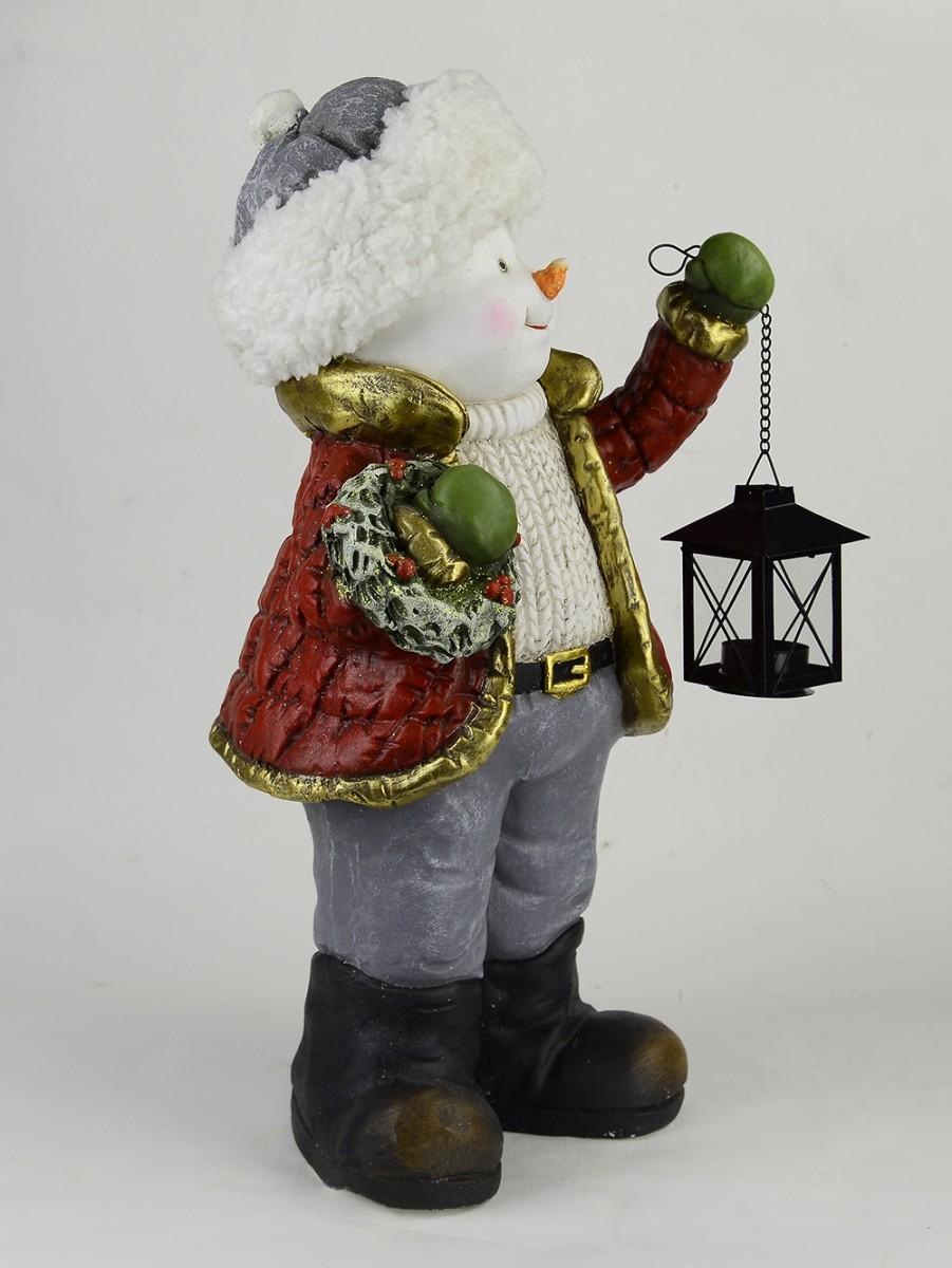 Country resin snowman holding wreath amp lantern 50cm large decor