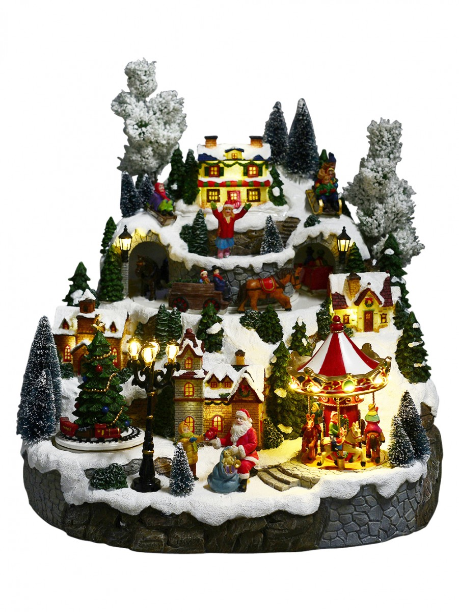 illuminated animated musical christmas snowy hillside village scene - Animated Christmas Village