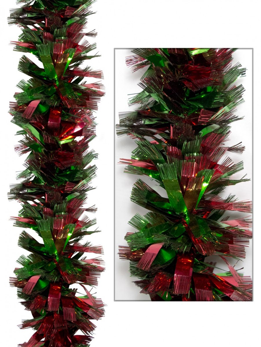 Thick metallic red green tinsel garland m garlands