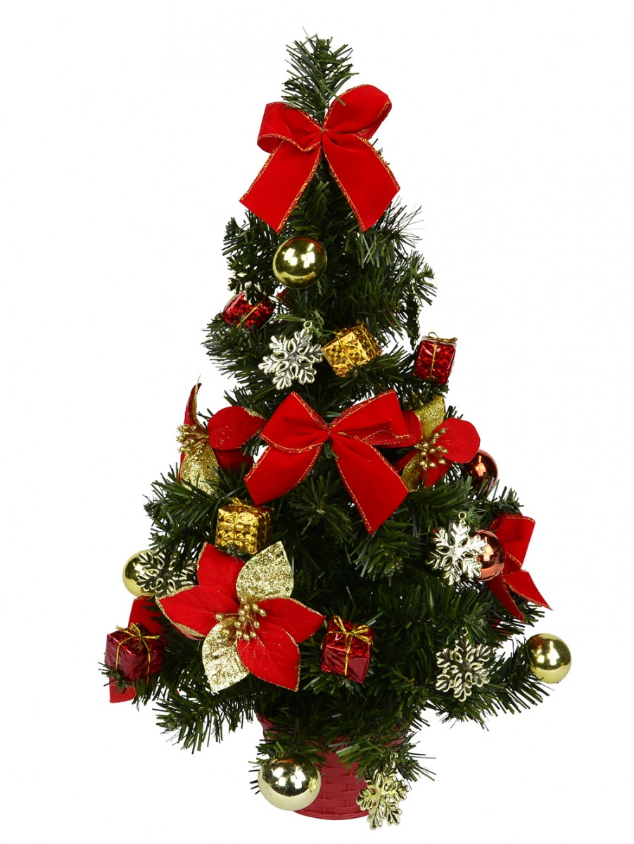 Red Green Gold Pvc Pre Decorated Table Tree With Baubles Bows